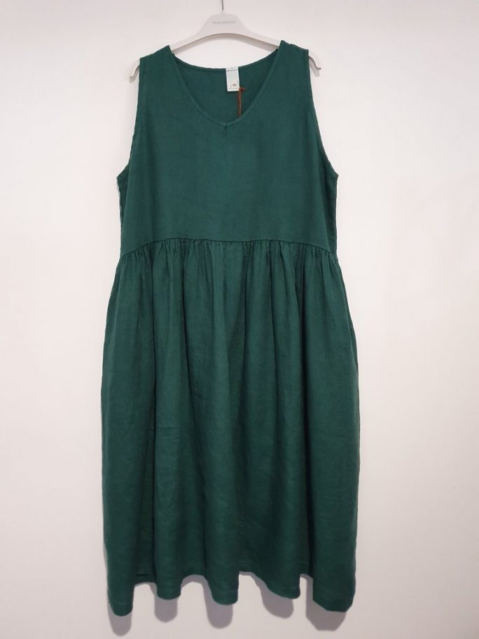 Fun Italian linen sleeveless dress with a V-neck, gathered above the waist dress-101-phoebe-04-teal