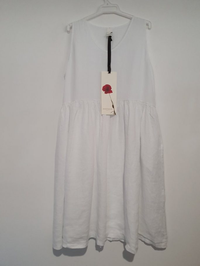 Fun Italian linen sleeveless dress with a V-neck, gathered above the waist dress-101-phoebe-06-white
