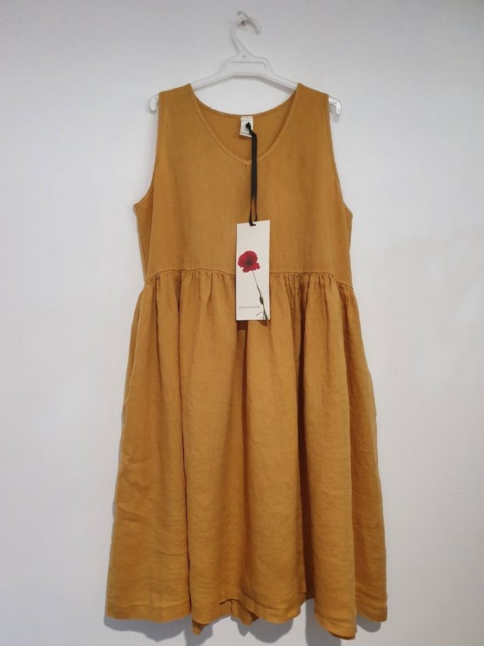 Fun Italian linen sleeveless dress with a V-neck, gathered above the waist dress-101-phoebe-07-mustard