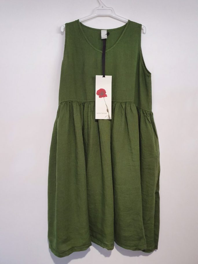 Fun Italian linen sleeveless dress with a V-neck, gathered above the waist dress-101-phoebe-08-forest-green