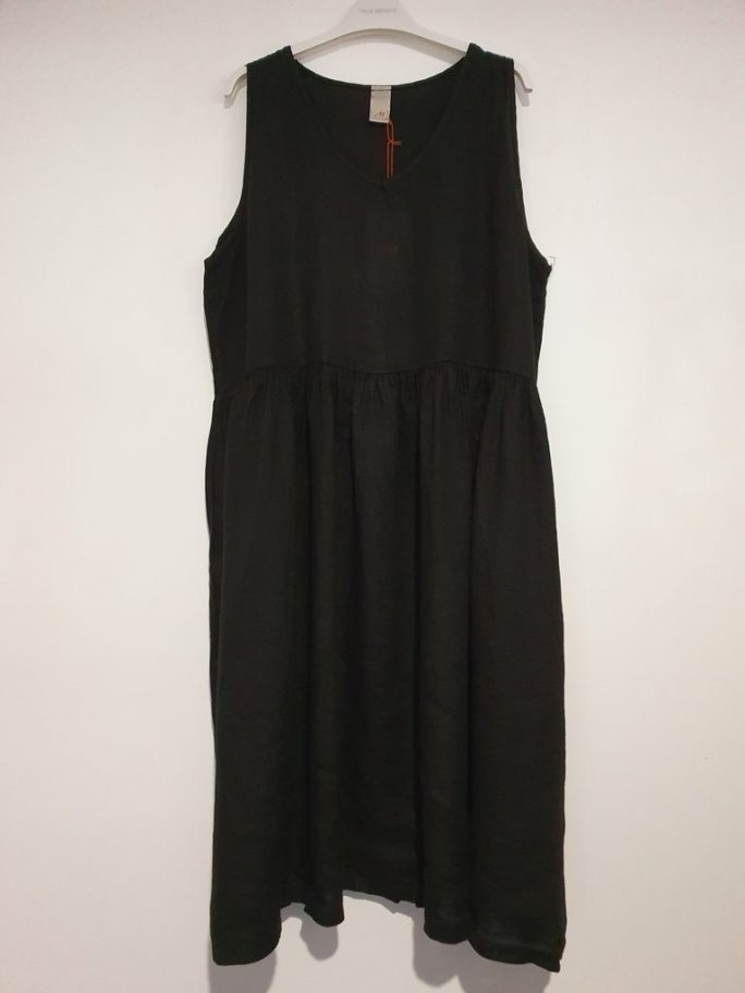 Fun Italian linen sleeveless dress with a V-neck, gathered above the waist dress-101-phoebe-09-black