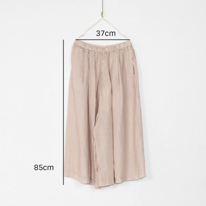 Stunning Italian Linen Culottes in the softest linen falling to look like a skirt. pants-101-carrie-08-rose