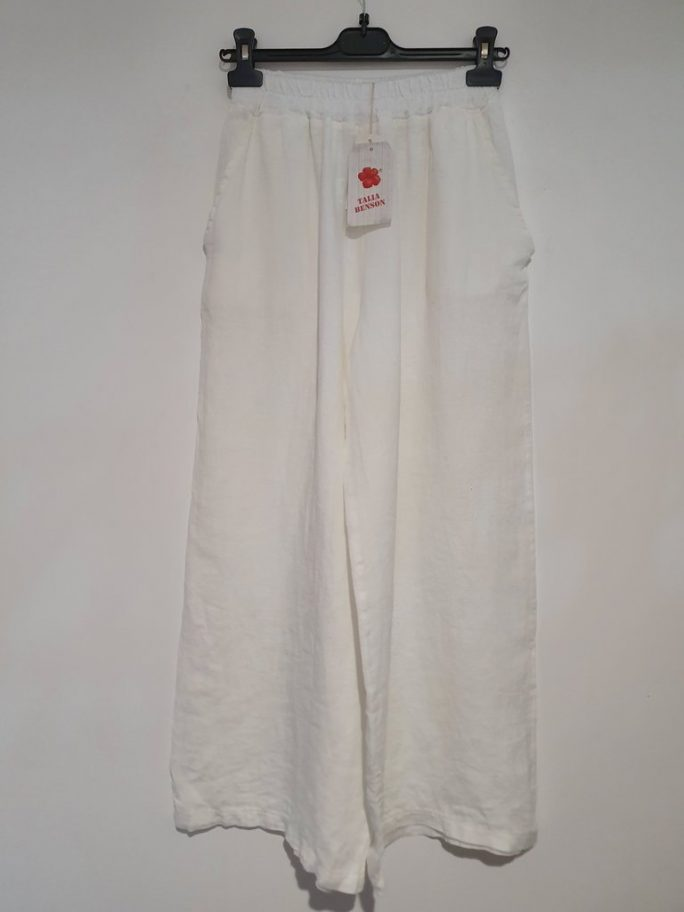 The classic Italian linen palazzo pant with an elastic waist falling to wider longer legs - suit everyone from the short body shape to the tall. pants-104-olivia-04-white