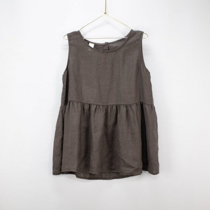 This Italian linen summer top is casual yet elegant fits most and suits every age. top-102-jilly-03-charcoal