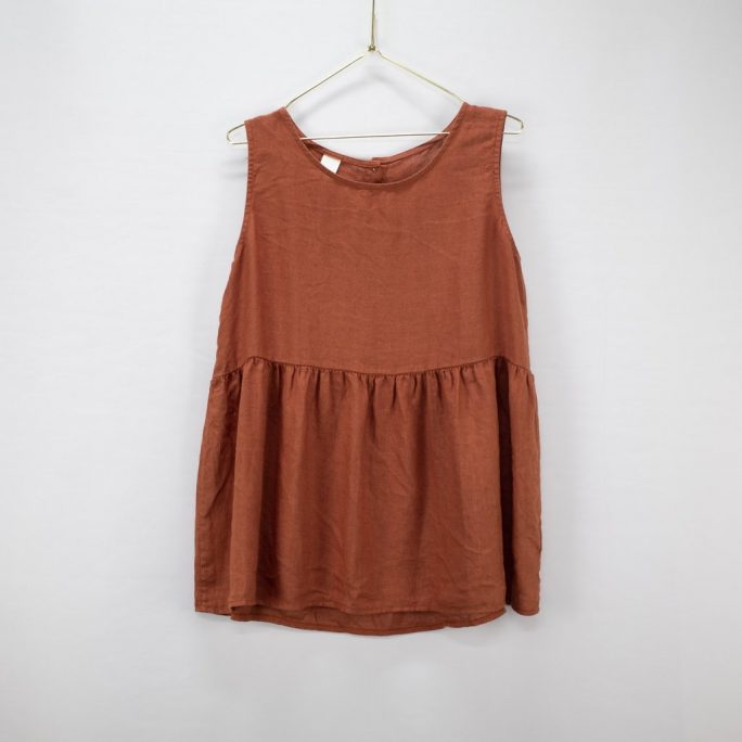 This Italian linen summer top is casual yet elegant fits most and suits every age. top-102-jilly-06-rust