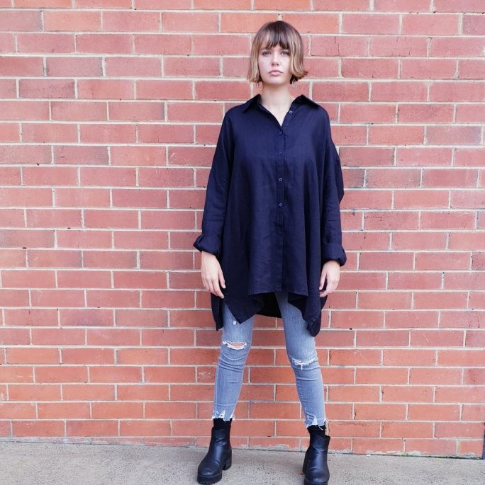 Italian linen over-sized boyfriend style shirt. top-103-the-shirt-02-french-navy