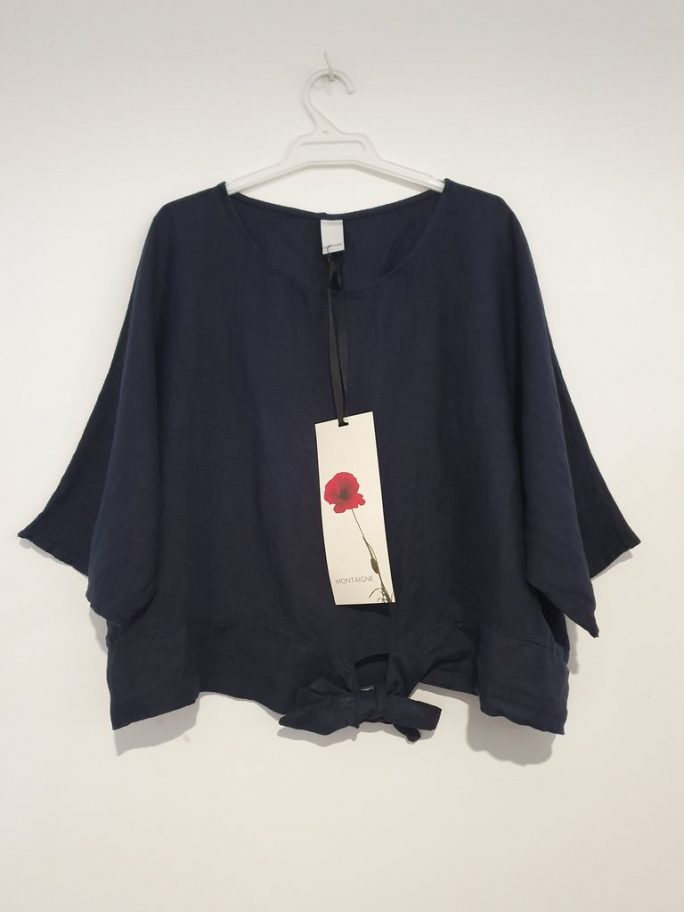 This stylish Italian linen boxy top features three-quarter sleeves with a front tie at the waist. top-104-adeline-04-navy