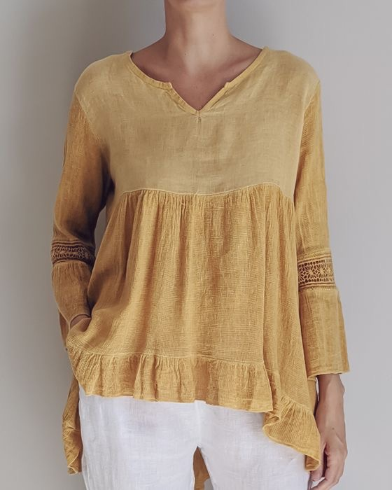 FEMININE & FLATTERING the ARABELLA Italian linen floaty top is perfect for every day with jeans or shorts and that special event with either straight leg or palazzo pants and heels or flats. top-106-arabella-04-mustard