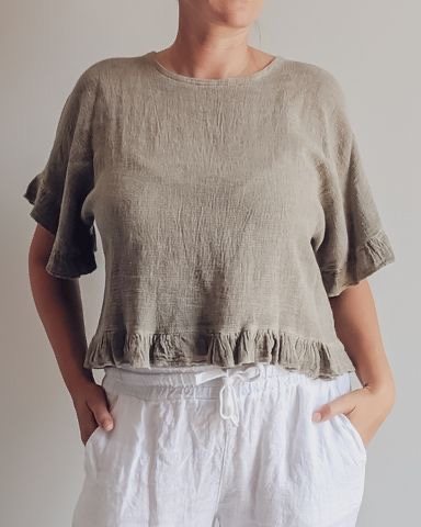 Edgy frilled top in open weave Italian linen cotton. top-107-eva-02-taupe