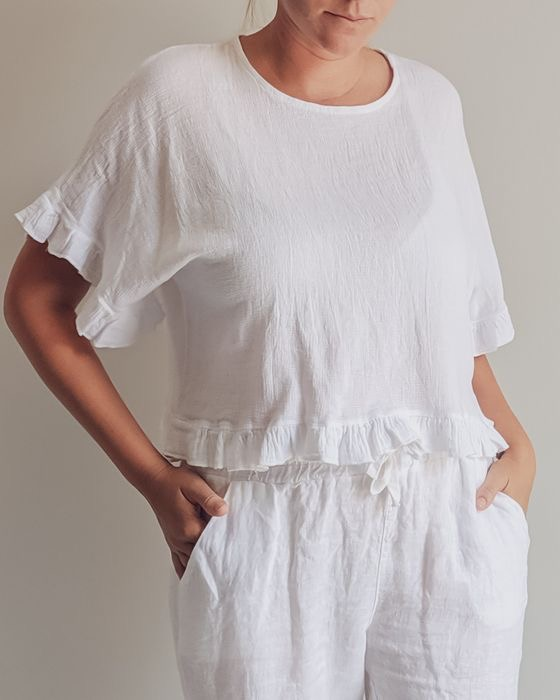 Edgy frilled top in open weave Italian linen cotton. top-107-eva-03-white