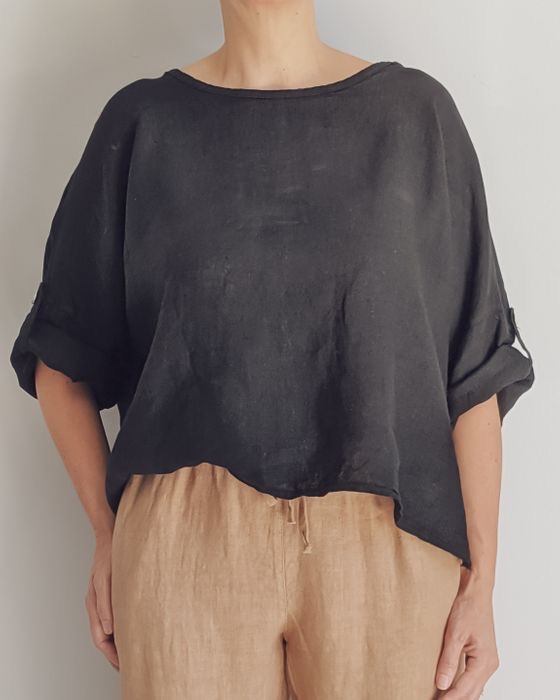 The Greta Italian linen top is one of our current favourites. top-108-greta-01-black