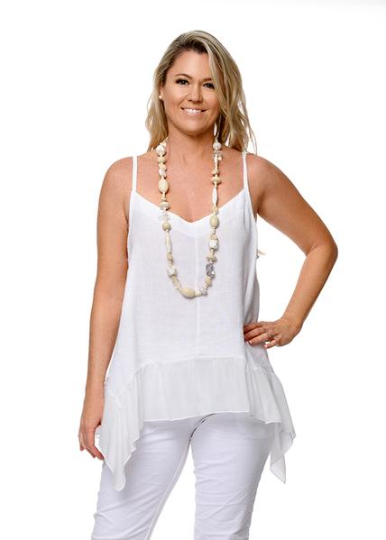 This Italian linen Skye top with a silk frill is perfect with skirts pants or shorts. top-111-skye-01-white