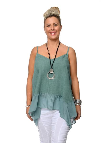 This Italian linen Skye top with a silk frill is perfect with skirts pants or shorts. top-111-skye-02-fern