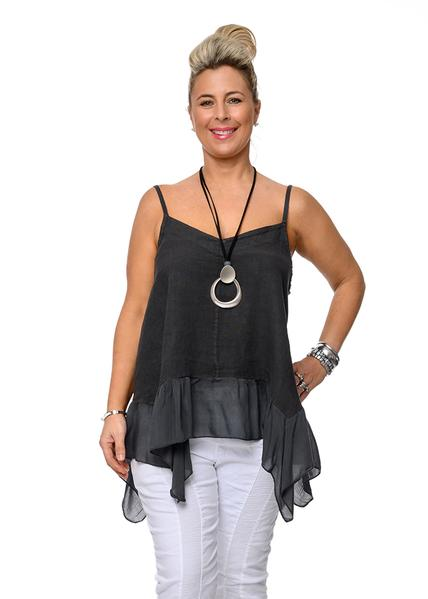 This Italian linen Skye top with a silk frill is perfect with skirts pants or shorts. top-111-skye-04-granite